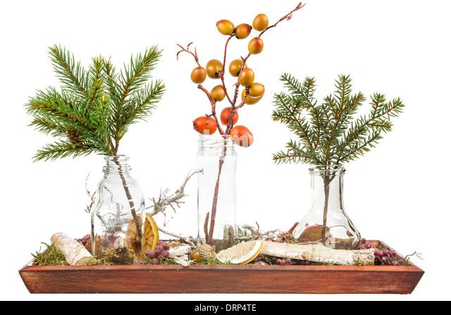 autumn deco with artificial plastic plants stock image