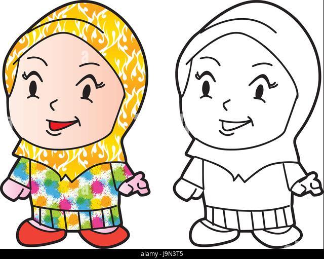 Illustration Of Melayu Muslim Girl Vector Cartoon Character For Coloring