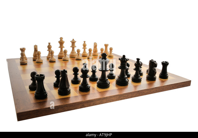 Chess board set up ready for a game stock image