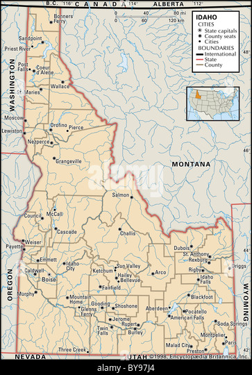 Map Of Idaho Stock Photos Map Of Idaho Stock Images Alamy - Idaho political map