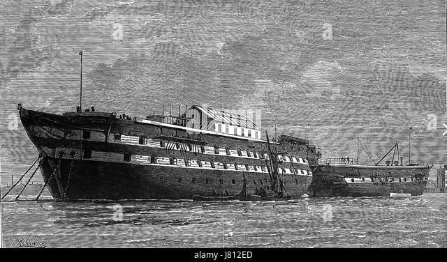 SMALLPOX HULKS Former Royal Navy ships HMS Atlas at left and HMS Endymion at Deptford Creek, Kent, as hospital ships - Stock Image