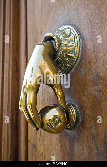 Ornate Doorknocker, Old Town, Valencia, Spain   Stock Image