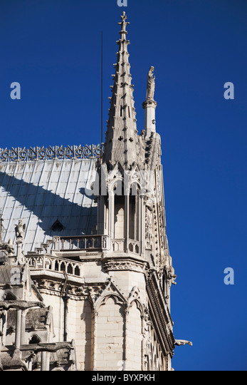 Cathedral Spires And Roof With A Blue Sky Background; Paris, France   Stock  Image