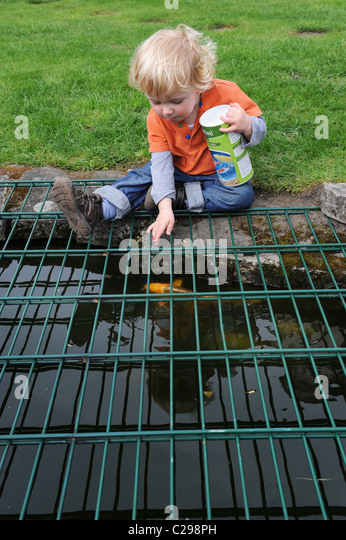 Child playing garden pond guard stock photos child for Garden pond guards
