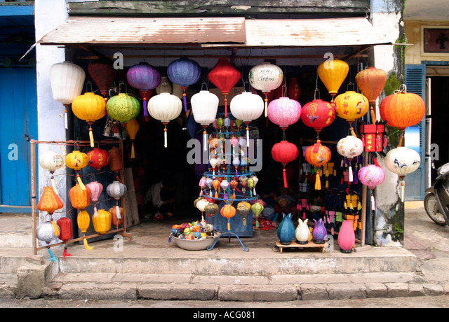 Paper lamp shades stock photos paper lamp shades stock images shop selling lamp shades hoi an vietnam stock image mozeypictures Choice Image