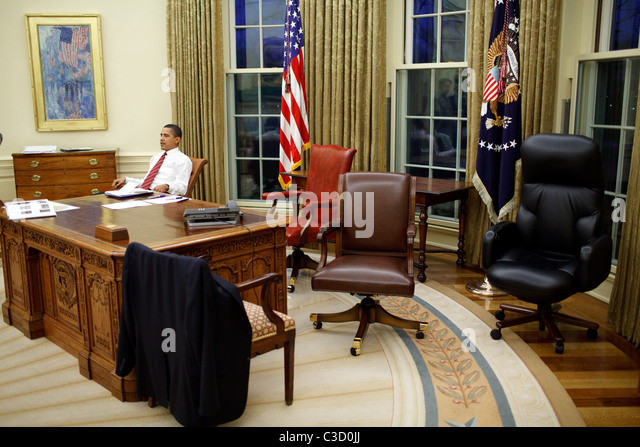 the oval office desk. US President Barack Obama Tries Out Different Desk Chairs In The Oval Office Washington DC,