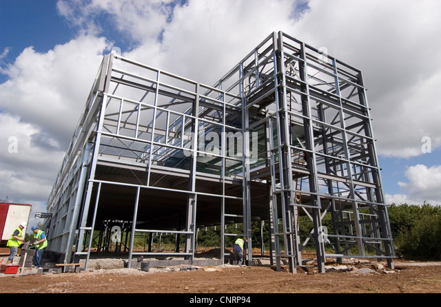 Steel Frame House Construction : Steel frame building stock photos