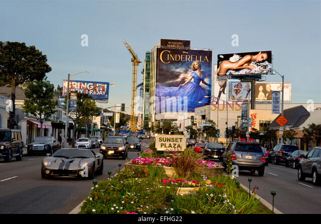 Sunset Plaza area of the Sunset Strip in West Hollywood - Stock Image