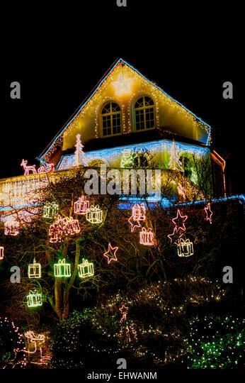 Christmas lights exterior house stock photos christmas lights exterior house stock images alamy for Christmas lights for house exterior
