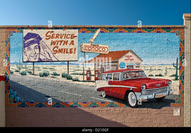 Billboard 1950s stock photos billboard 1950s stock for Cleveland gas station mural