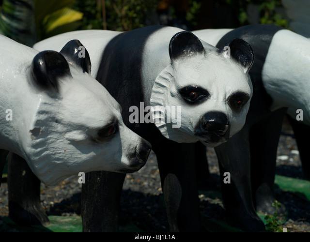 Concrete Pandas Garden Ornament   Stock Image