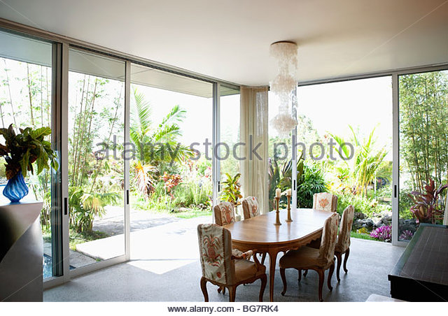 Modern Dining Room Overlooking Garden