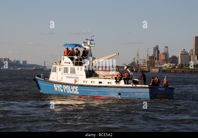 Police boat nypd stock photos police boat nypd stock for Fishing in new york city