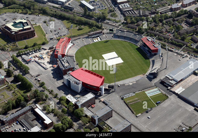 aerial view of Old Trafford cricket ground, Manchester, UK - Stock Image