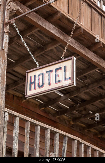 Hotel Sign In An Old American Ghost Town