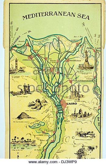Nile River Map Stock Photos Nile River Map Stock Images Alamy - Map of egypt 1920
