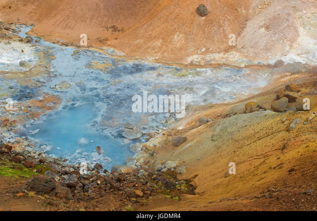 Hot spring at Seltun, geothermal field showing volcanic fumaroles, mud pots and hot springs, Reykjanes Peninsula, - Stock Image