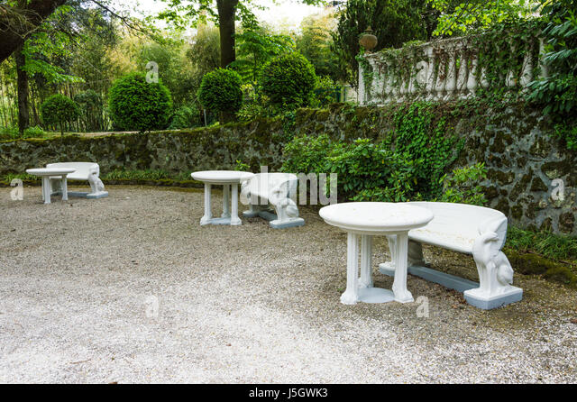 White Stone Benches With Sculpted Griffin Shape, Architecture Of 900u0027s    Stock Image