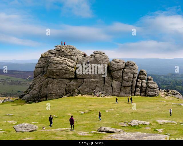 Haytor Rocks, Ilsington, Dartmoor National Park, Devon, England, United Kingdom - Stock Image