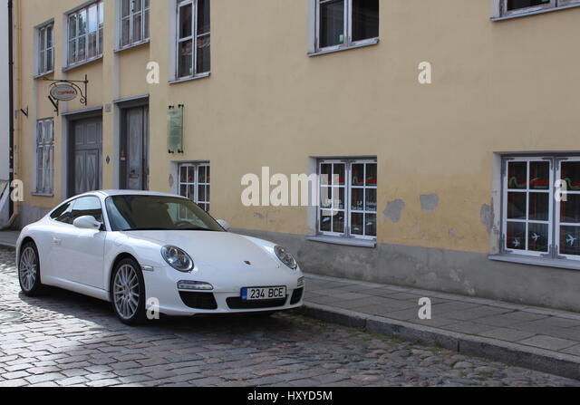 Porsche Spotted In Tallinnu0027s Old Town Fits In Well With The Scenery   Stock  Image