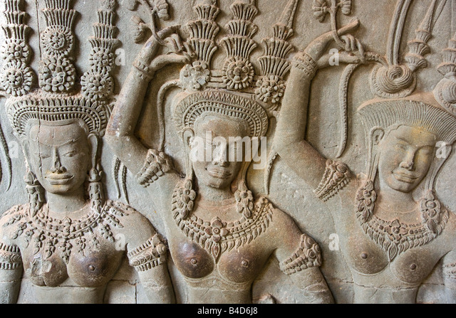 Cambodia carved wall bayon stock photos