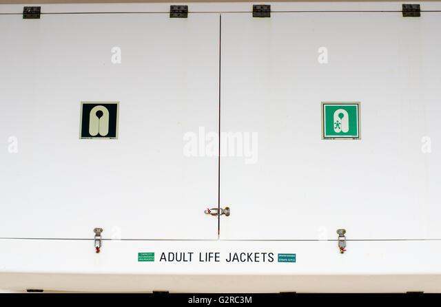 Life Jacket Storage Locker On Board A Cruise Ship   Stock Image