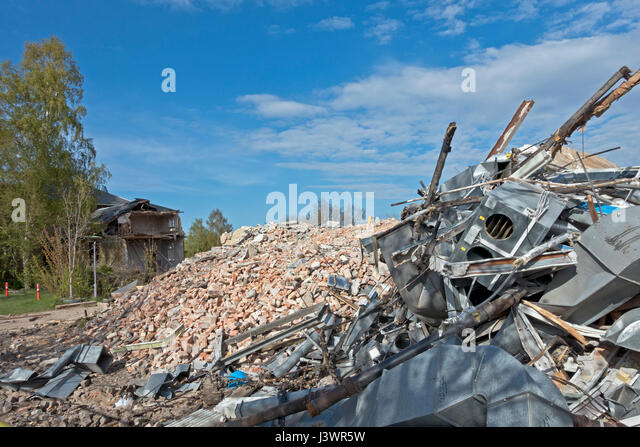 Heap of rubble and old equipment from the demolising of Hørsholm Hospital north of Copenhagen. Thousands of - Stock Image