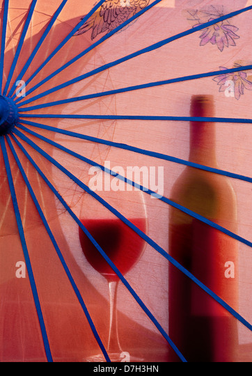 Red umbrella and silhouette stock photos red umbrella Sun garden riesling