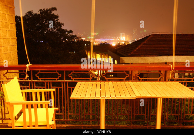 Decorated balcony night stock photos decorated balcony for Balcony overlooking city