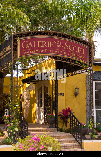Fine Arts Gallery Off Third Street Outdoors Old Naples Florida Fl Rich  Upscale Shopping District