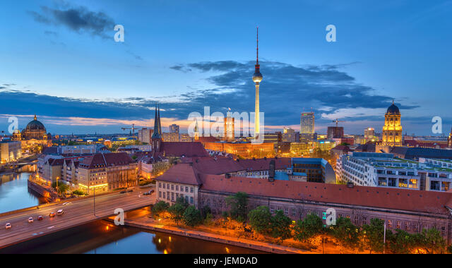 Berlin panorama city skyline when sunset at Spree River, Berlin, Germany - Stock Image