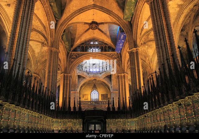 Barcelona cathedral stock photos barcelona cathedral for Interior de la catedral de barcelona