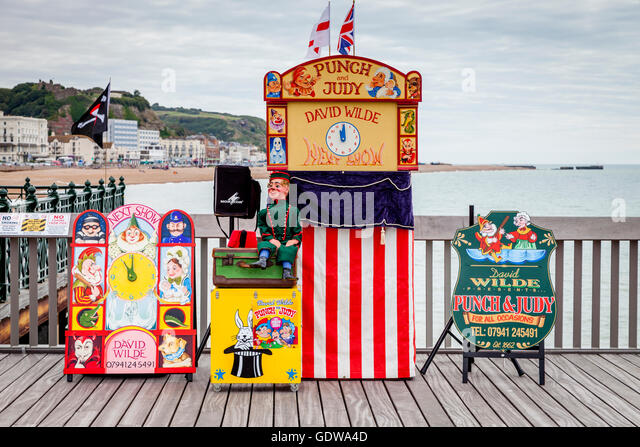 Punch and Judy Booth Hastings Pier Hastings Sussex UK - Stock Image & Punch Judy Booth Hastings Pier Stock Photos u0026 Punch Judy Booth ...