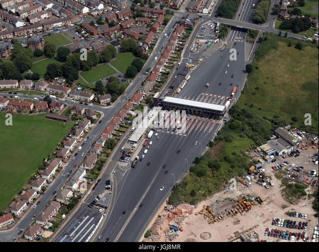 aerial view of Birkenhead side of the Mersey Tunnel, Wirral, Merseyside, UK - Stock Image