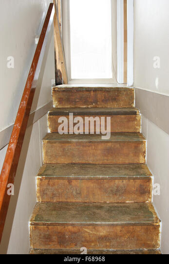Old Wooden Steps In The Process Of Being Renovated   Stock Image