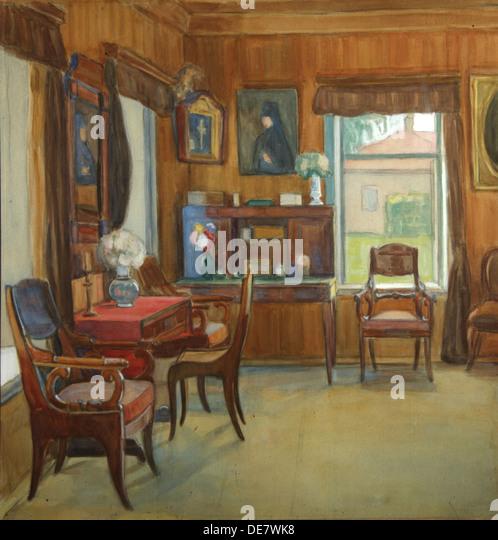 Interior in the House in Chegodayevo Village, 1900s. Artist: Korovina, Olga  Nikolayevna