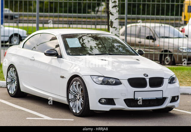 Kyiv, Ukraine April 15th, 2013: White Motor Car BMW E92 M3 Cabrio