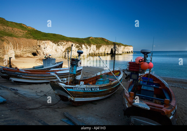 Coble fishing boats flamborough north stock photos coble for Head boat fishing near me