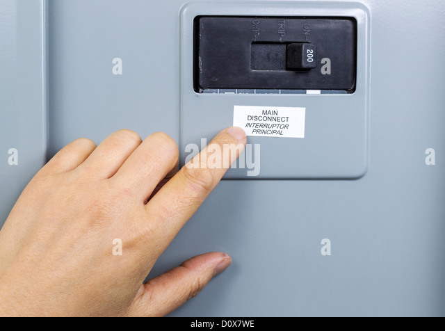 female hand near main circuit breaker of house power panel d0x7we fuse disconnect stock photos & fuse disconnect stock images alamy  at n-0.co