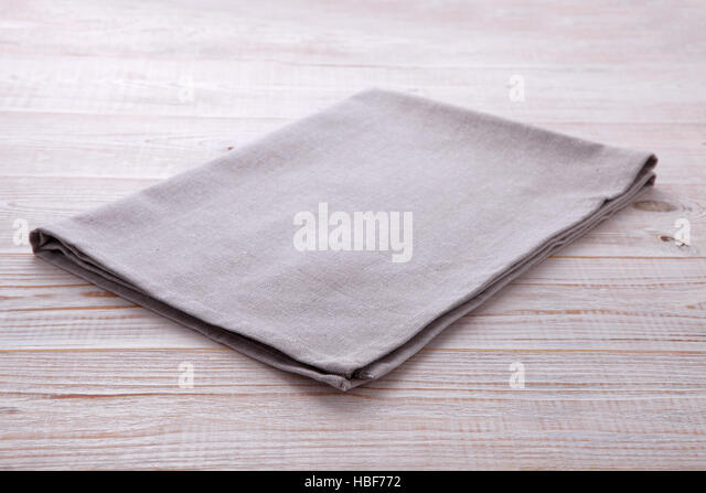 napkin tablecloth on white wooden table empty napkin template stock