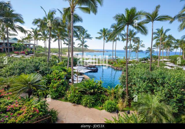 A 2017 view of Hulopoe Beach from the newly renovated Four Seasons Resort Lanai at Manele Bay, Lanai, Hawaii. - Stock Image