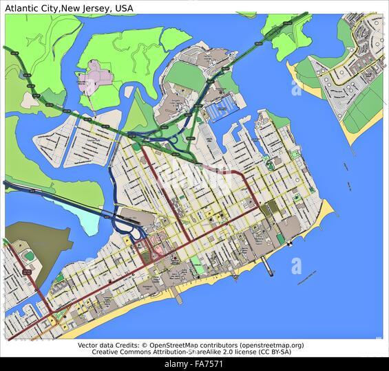 Atlantic City New Jersey Usa Location Map Stock Image