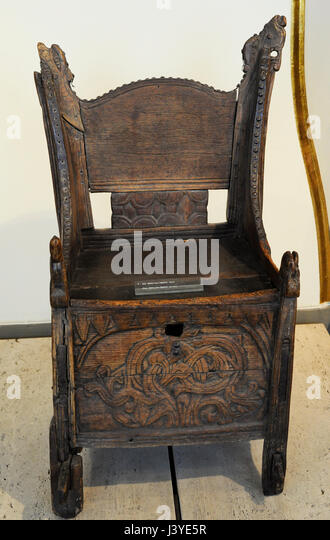 Carved Wooden Chair. Wood. Blakar, Lom, Oppland, Norway.