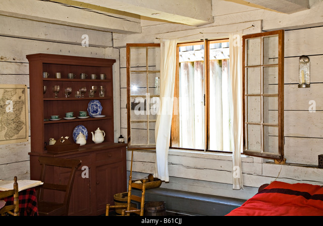 Settler Room In Wooden House Fort Langley National Historic Monument Canada