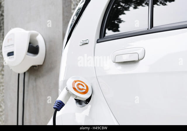 Electric Car Charging Home Stock Photos Electric Car Charging
