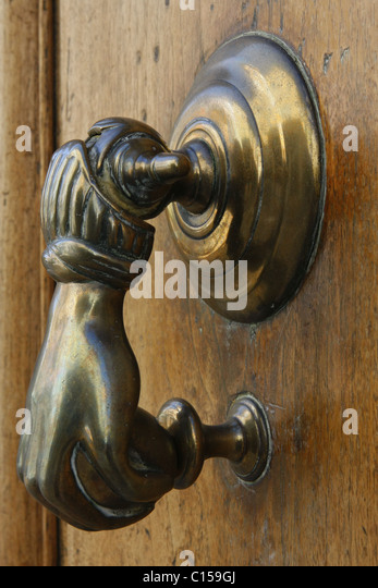Ornate Brass Door Knocker On An Old House In France   Stock Image