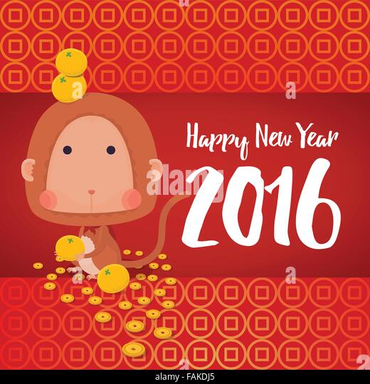 vector illustrator of monkey in chinese zodiac with oranges coins background for 2016 new year - Chinese New Year 2016 Zodiac