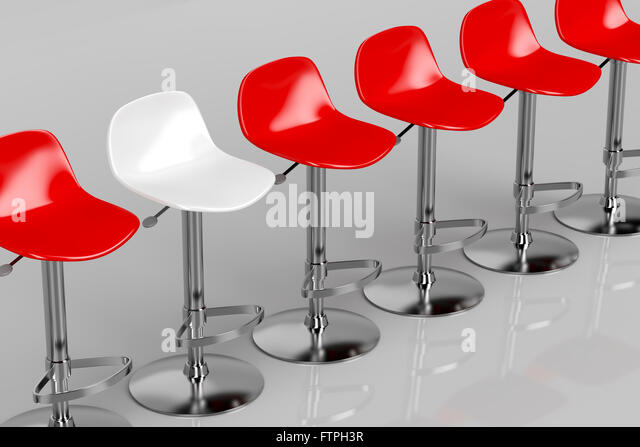 red and white bar stools