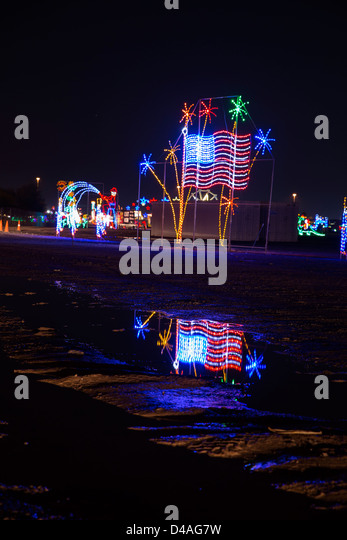 Arizona Christmas Lights Stock Photos Reflection American Flag Water Decoration