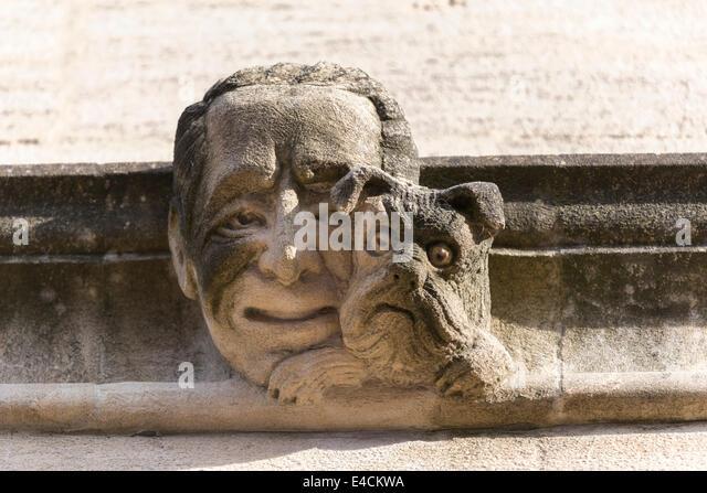 Stone carving grotesque gargoyle stock photos